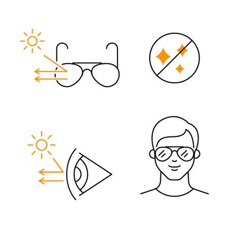 Polarized sunglasses vector icons set Иллюстрация
