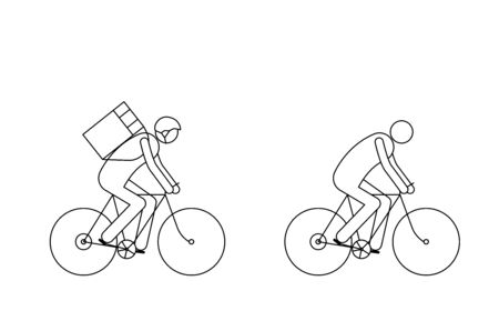 Man on bike icon, courier, delivery Иллюстрация
