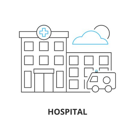 Hospital building line vector icon