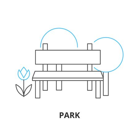 Bench in a park vector icon