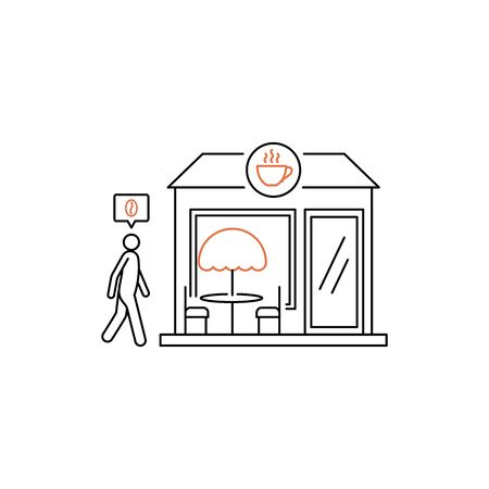 Person going to the cafe vector illustration