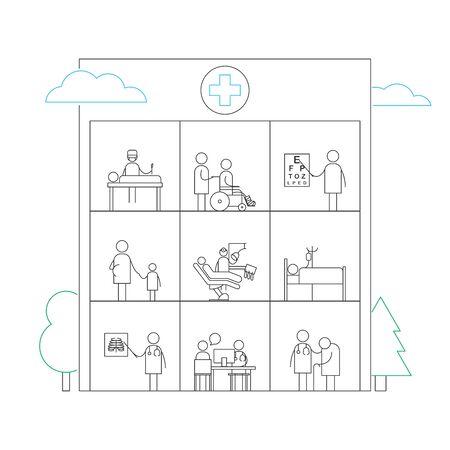 Hospital building, medicine services line vector illustration