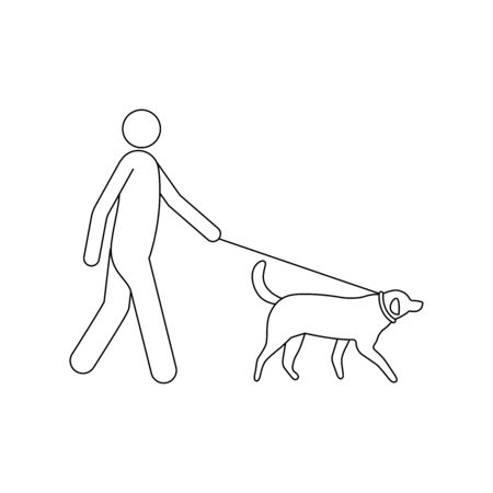 Man walking with a dog simple illustration Stock fotó - 148097398