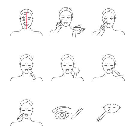 Cosmetology icons vector set