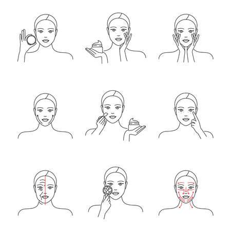 Skin moisturizer, cream, anti-aging, skin care icons