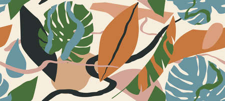 Trendy floral seamless pattern, botanical background 向量圖像