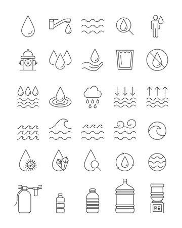 Water line icons set, editable stroke