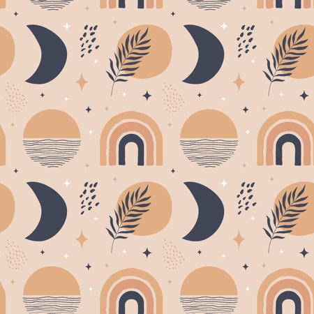 Trendy bohemian seamless pattern 向量圖像