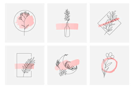 Floral design templates feminine style 向量圖像