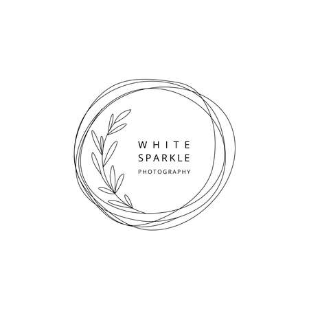Floral design template circle with leaves