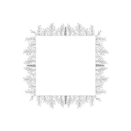 Floral frame botany border design element