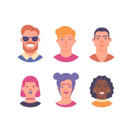 Female and male avatars cartoon style 向量圖像