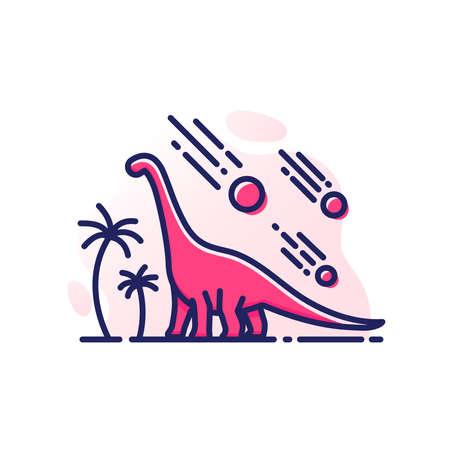Dinosaur Barosaurus vector illustration, Mesozoic era