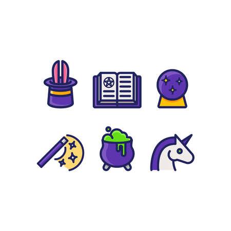 Magic icons set mystical items