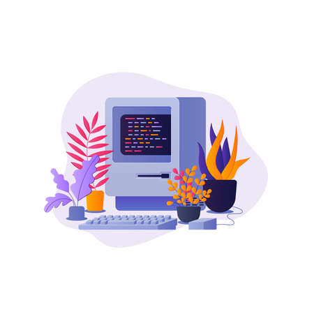 Old computer surrounded by plants illustration