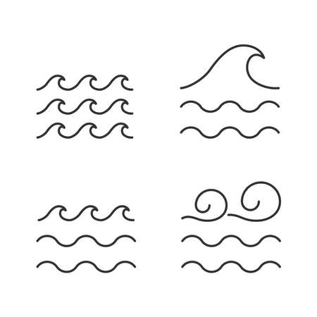 Water wave vector icon line style 向量圖像