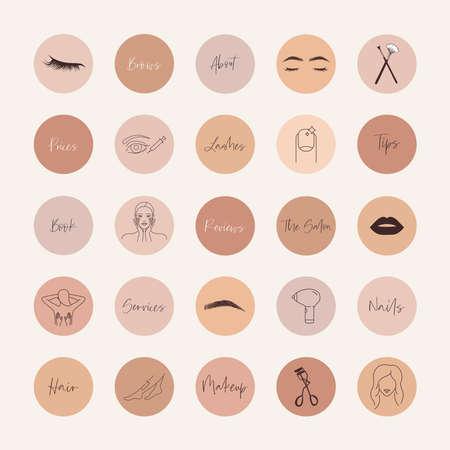 Beauty salon social media highlight covers 向量圖像