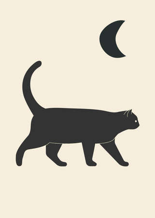 Cat and moon poster vector illustration 向量圖像