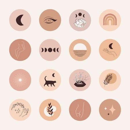Boho highlight covers Mystic social media icons