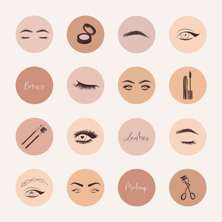 Brows and lashes highlight covers social media icons