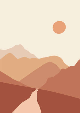 Abstract landscape illustration. Mountains, sun, moon, sunset, desert, hills minimalist design. Trendy mid century art, boho home decor, wall art.
