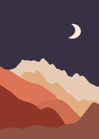 Abstract landscape illustration. Mountains, sun, moon, sunset, desert, hills minimalist design. Trendy mid century art, boho home decor, wall art.