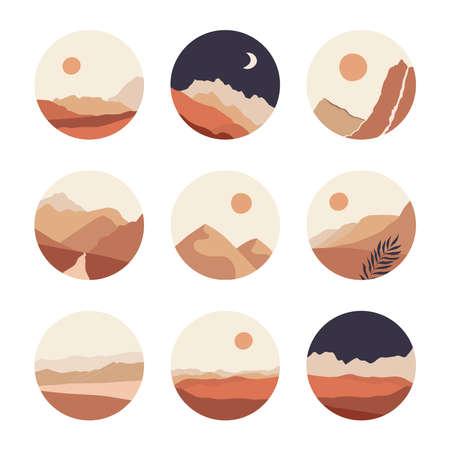 Abstract landscape illustrations set. Mountains, sun, moon, sunset, desert, hills minimalist design. Trendy mid century art, boho home decor, wall art. 向量圖像