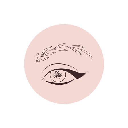 Eye and brow floral beauty illustration