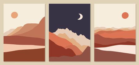 Abstract landscape illustrations. Mountains, sun, moon, sunset, desert, hills minimalist design. Trendy mid century art, boho home decor, wall art.