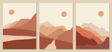 Abstract landscape illustrations. Mountains, sun, sunset, desert, hills minimalist design. Trendy mid century art, boho home decor, wall art. 向量圖像