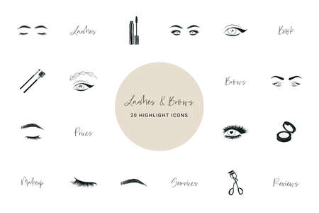 Lashes and brows beauty icons 向量圖像
