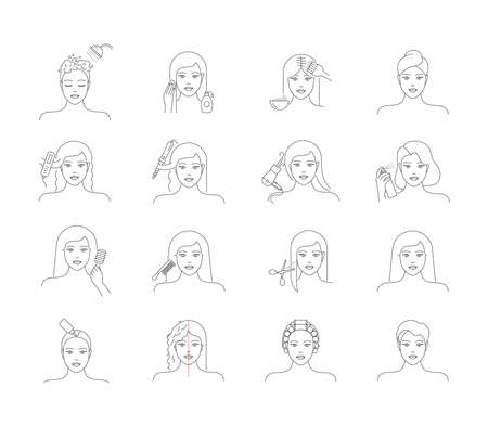 Hair care, treatment and daily routine beauty icons