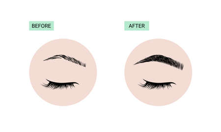 Brows correction and extension before and after icons 向量圖像