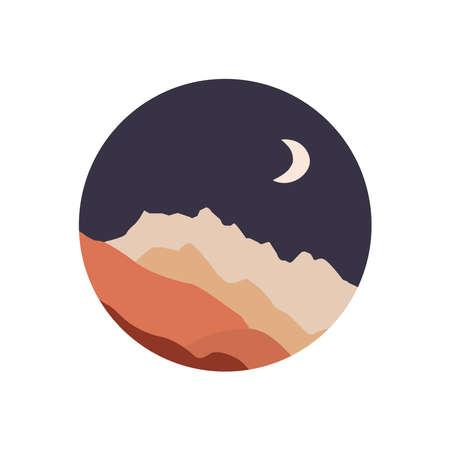 Abstract landscape illustration. Moon, mountains, nature 向量圖像