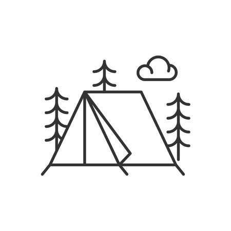 Tent icon vector line style