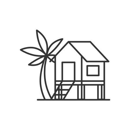 Beach house icon vector line style 向量圖像