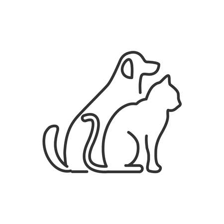 Cat and dog icon vector line style