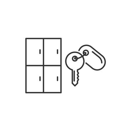 Lockers and key icon vector line style