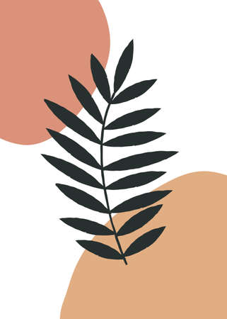 Abstract tropical leaf illustration. Trendy mid century art, boho home decor, abstract floral wall art.