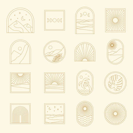 Abstract boho landscape logo set. Sun, moon, stars, sunburst, rainbow, night, mountains, nature. 向量圖像