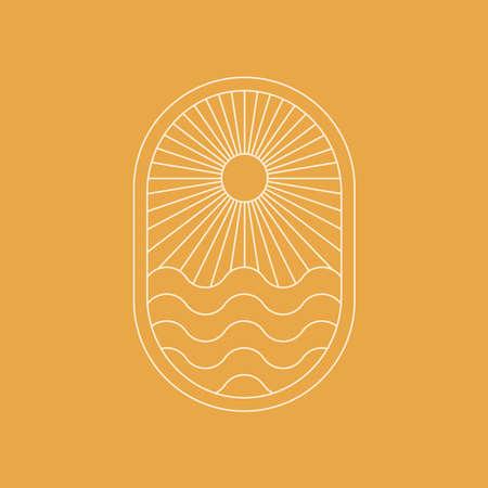 Abstract boho landscape logo. Sunburst, mountains, nature. 向量圖像