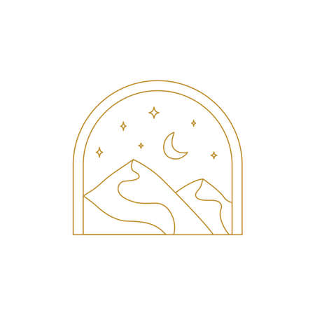 Abstract boho landscape logo. Moon and stars, night, mountains, nature.