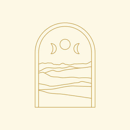 Abstract boho landscape logo. Moon phases, mountains, nature.