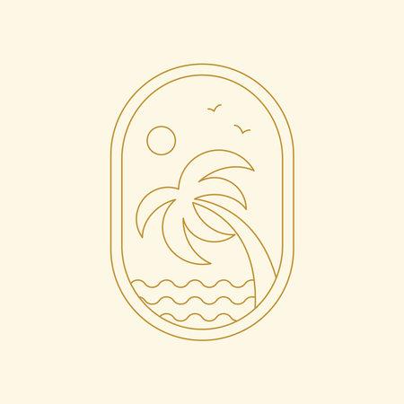 Palm and sea logo. Abstract boho landscape