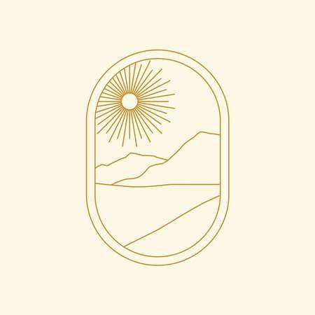 Abstract boho landscape logo. Sun, mountains, nature. 向量圖像
