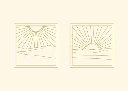 Sunburst abstract boho landscapes