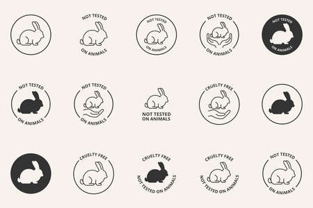 Cruelty Free Not Tested On Animals icons set 向量圖像
