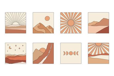 Abstract boho landscapes. Mountains, sun, moon, sunset, desert, hills minimalist design. Trendy mid century art, boho home decor, wall art.