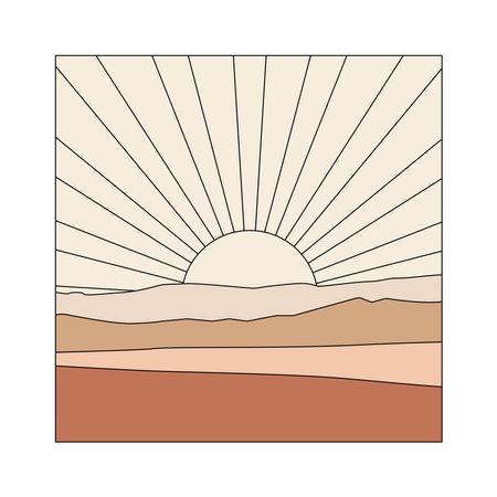 Sunrise illustration. Abstract boho landscape