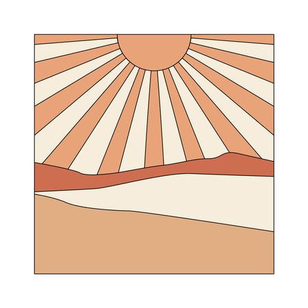 Sunburst illustration. Abstract boho landscape 向量圖像